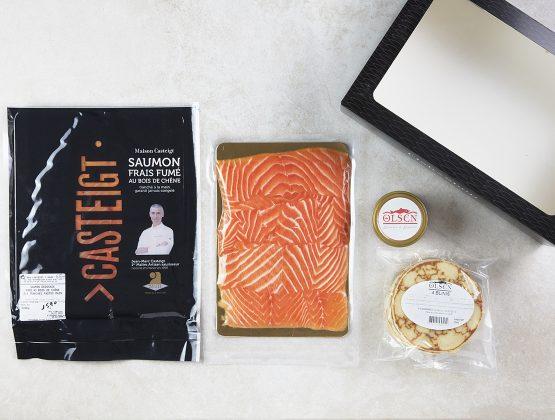 Box contenant des produits à base de saumon
